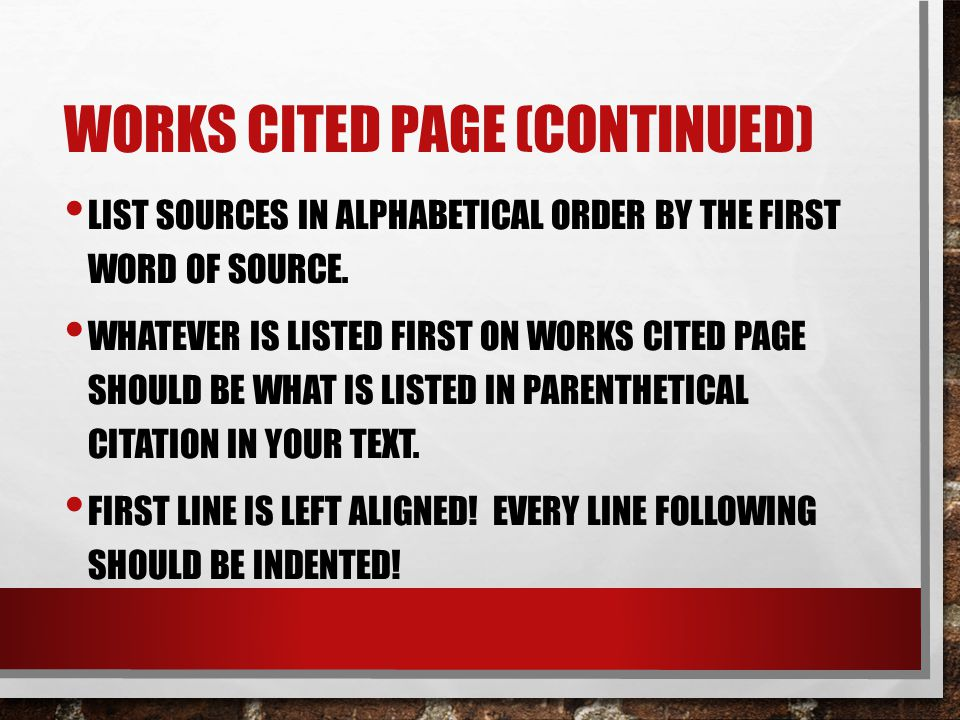Works Cited page (continued)