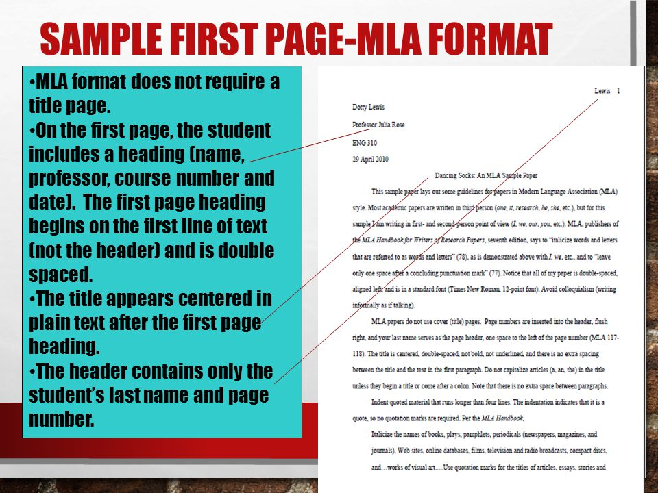 Sample first page-mla format
