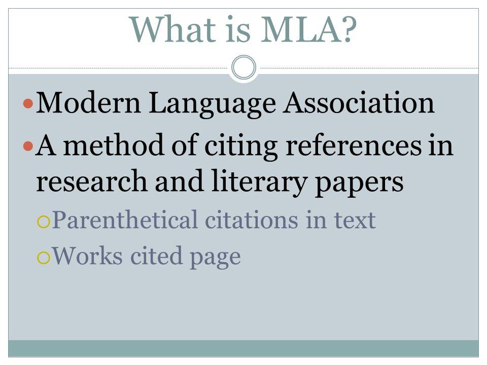 What is MLA Modern Language Association