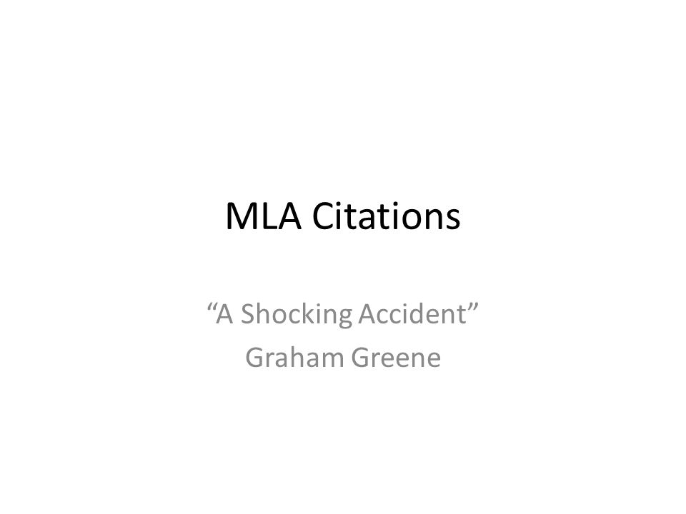 A Shocking Accident Graham Greene