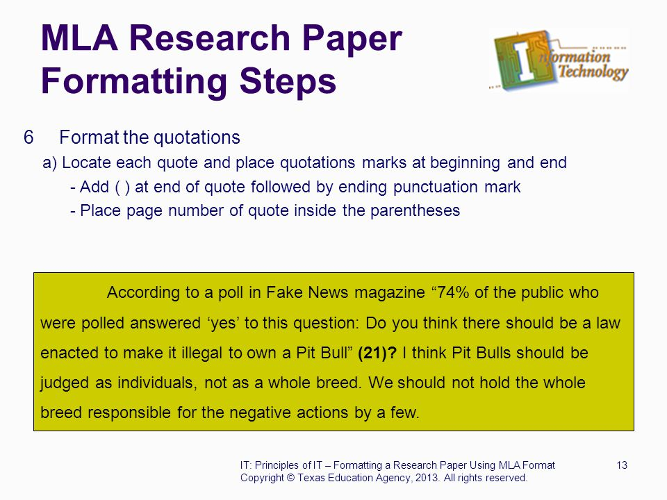 How do you cite a research paper in MLA format?