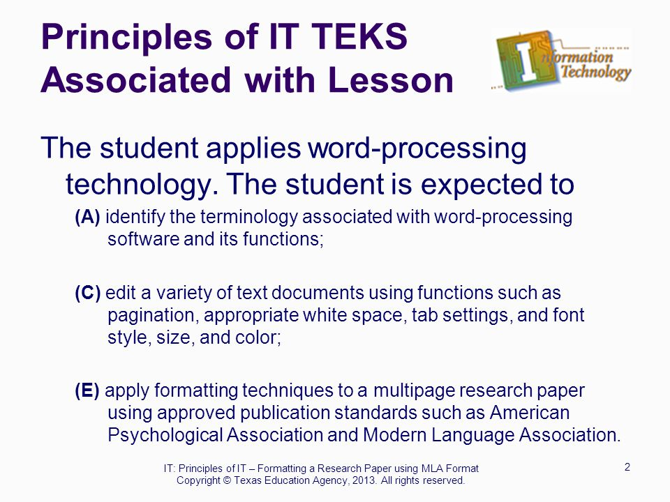 Principles of IT TEKS Associated with Lesson