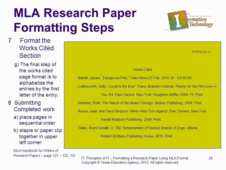 mla research paper format