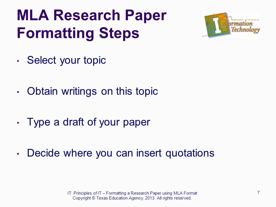 formatting research papers in mla Download free sample of research paper format, sample research paper, mla and apa research paper templates find out proper formatted custom research papers  learn about scientific research paper format, outline format, and find a good research paper sample.