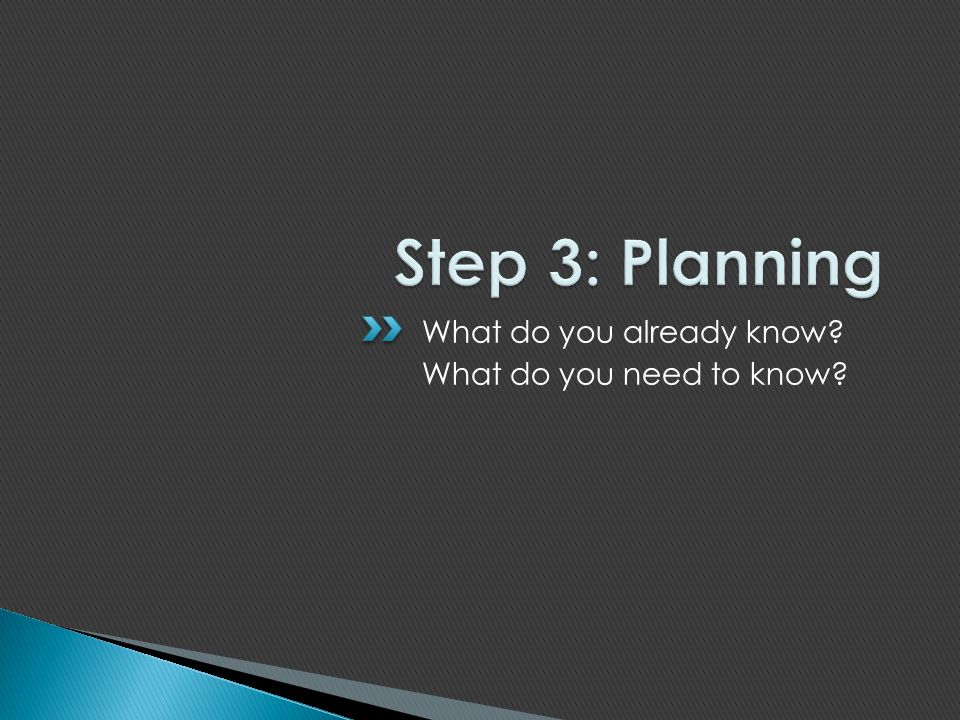 Step 3: Planning What do you already know What do you need to know