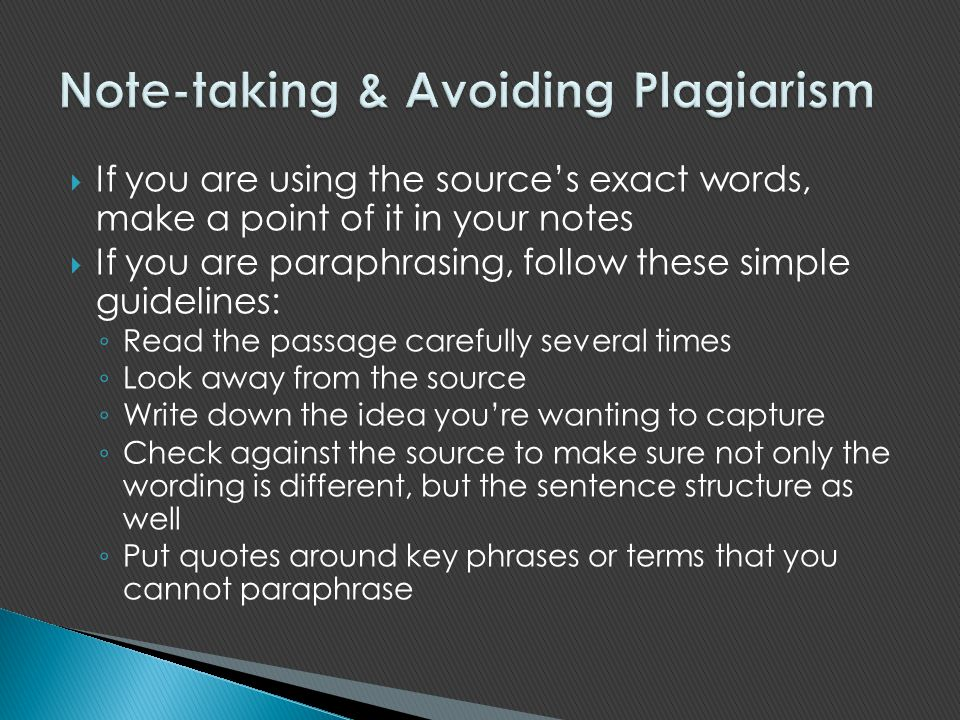 Note-taking & Avoiding Plagiarism