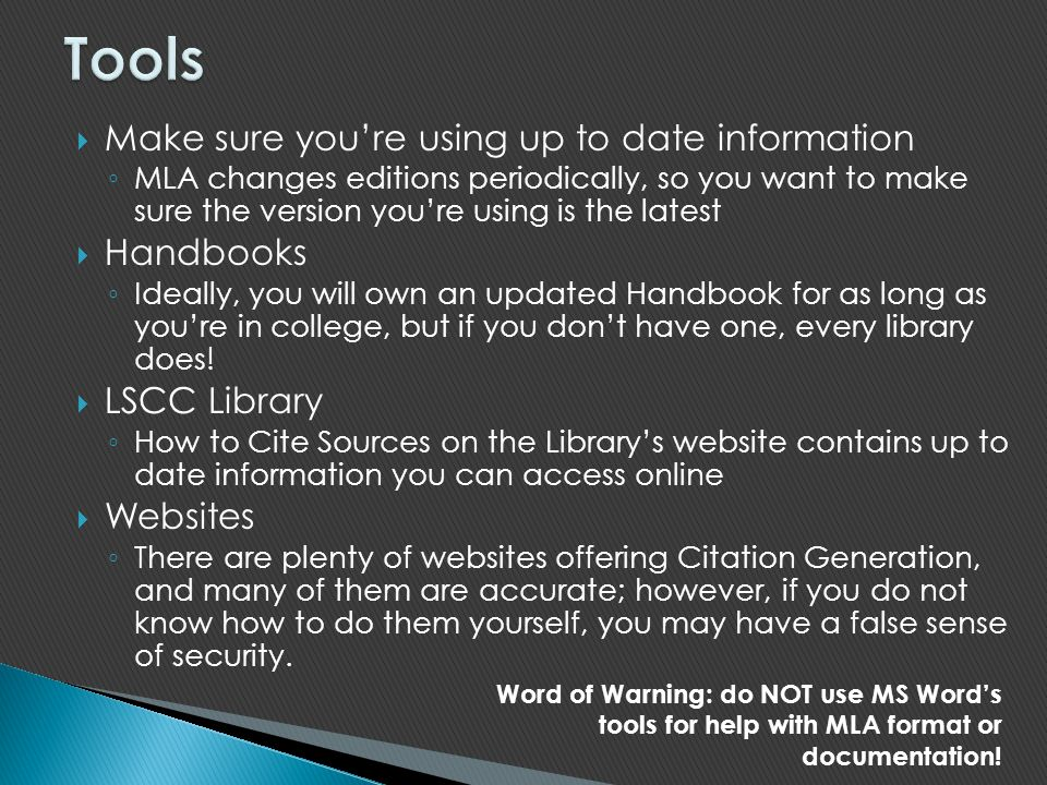 Tools Make sure you're using up to date information Handbooks