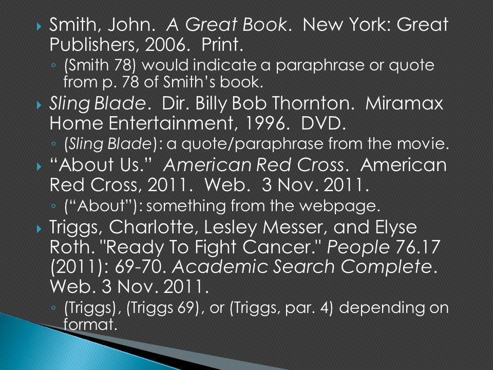 Smith, John. A Great Book. New York: Great Publishers, 2006. Print.