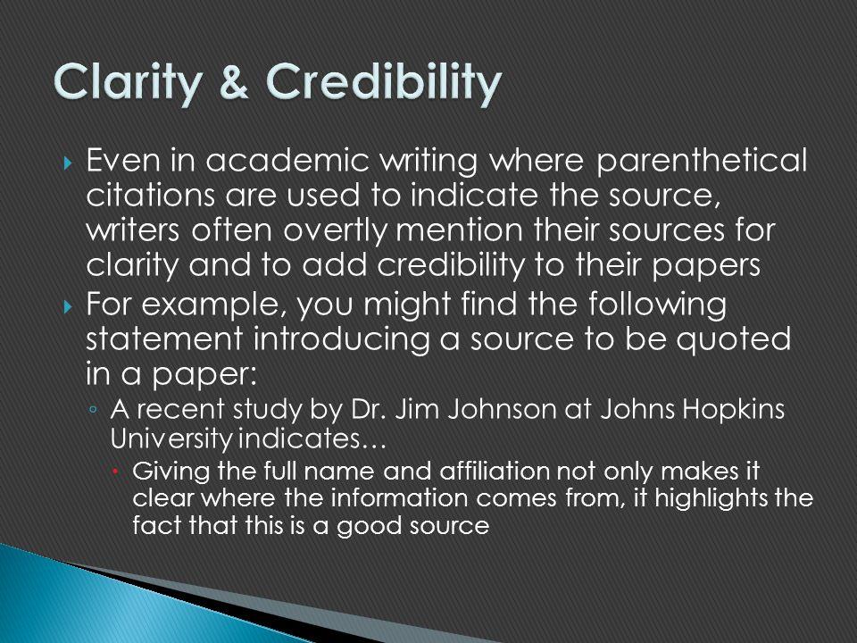 Clarity & Credibility