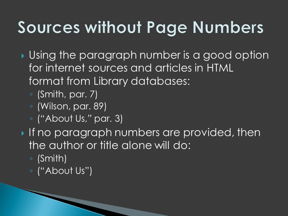 Sources without Page Numbers