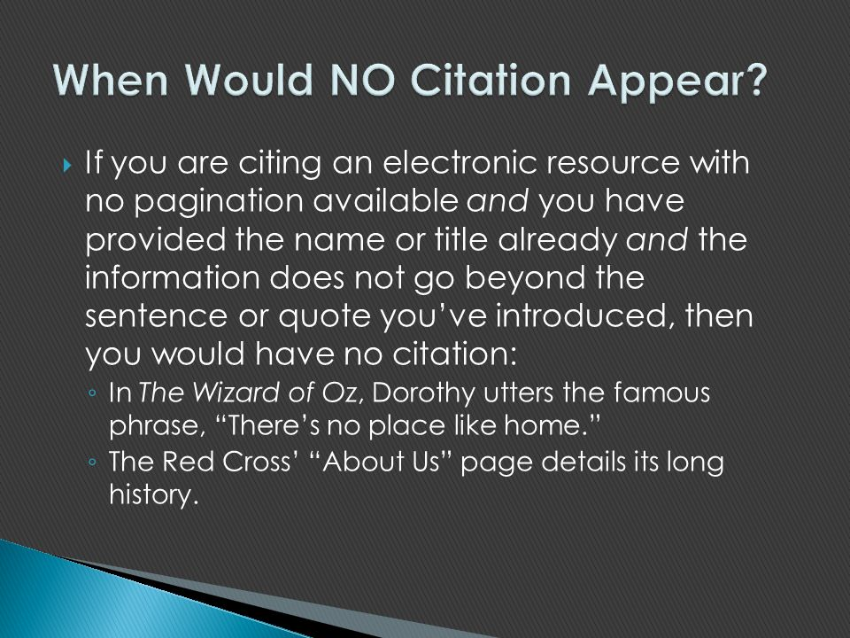 When Would NO Citation Appear