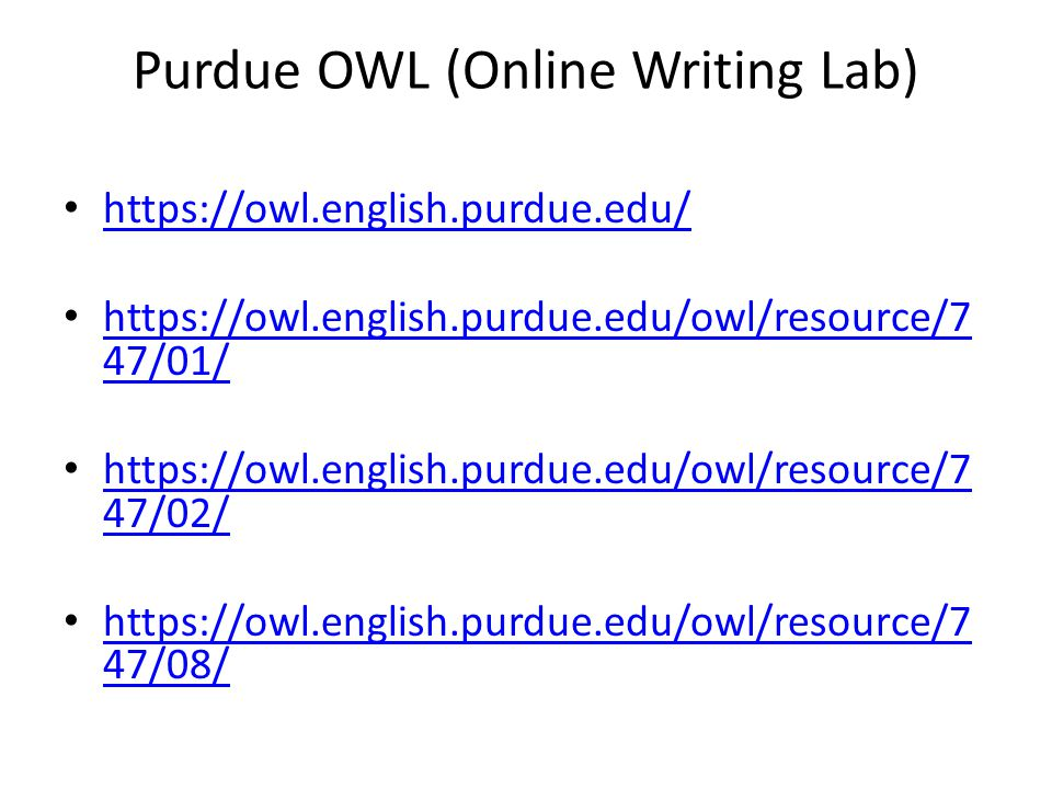 Purdue OWL (Online Writing Lab)