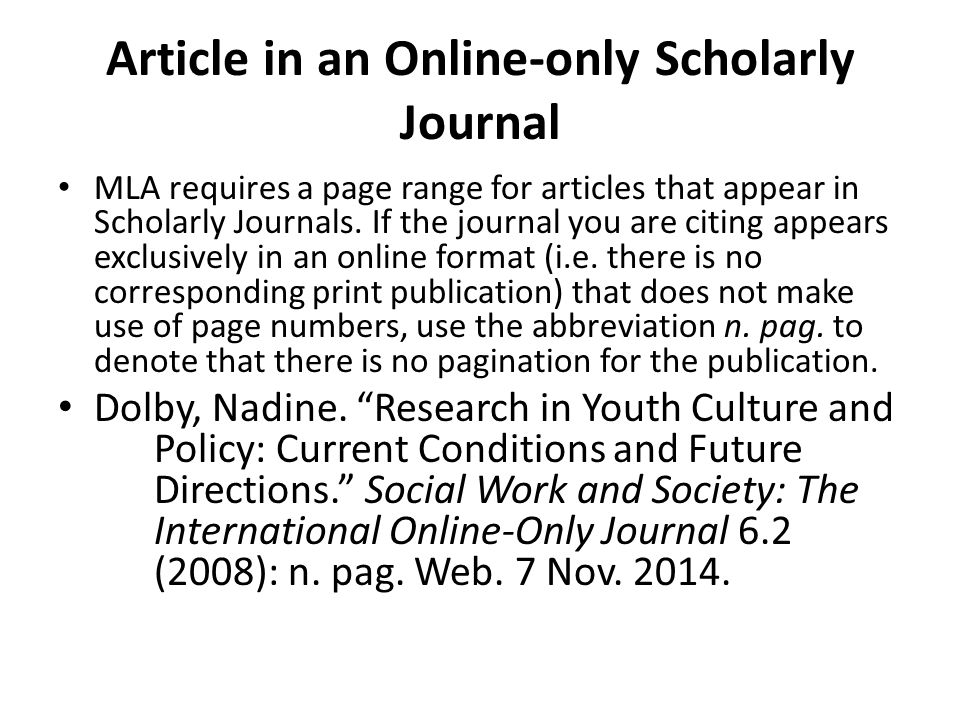 Article in an Online-only Scholarly Journal