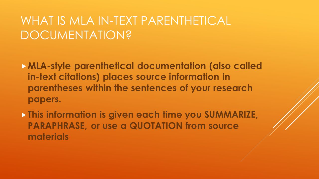 What is MLA in-text Parenthetical Documentation