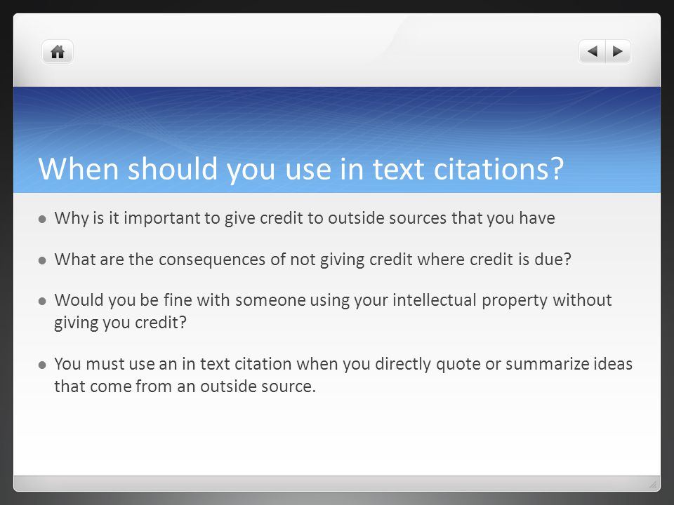 When should you use in text citations