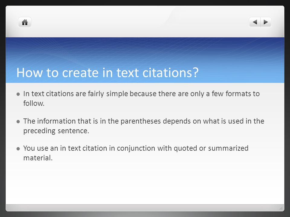 Q. How do I cite in my text?