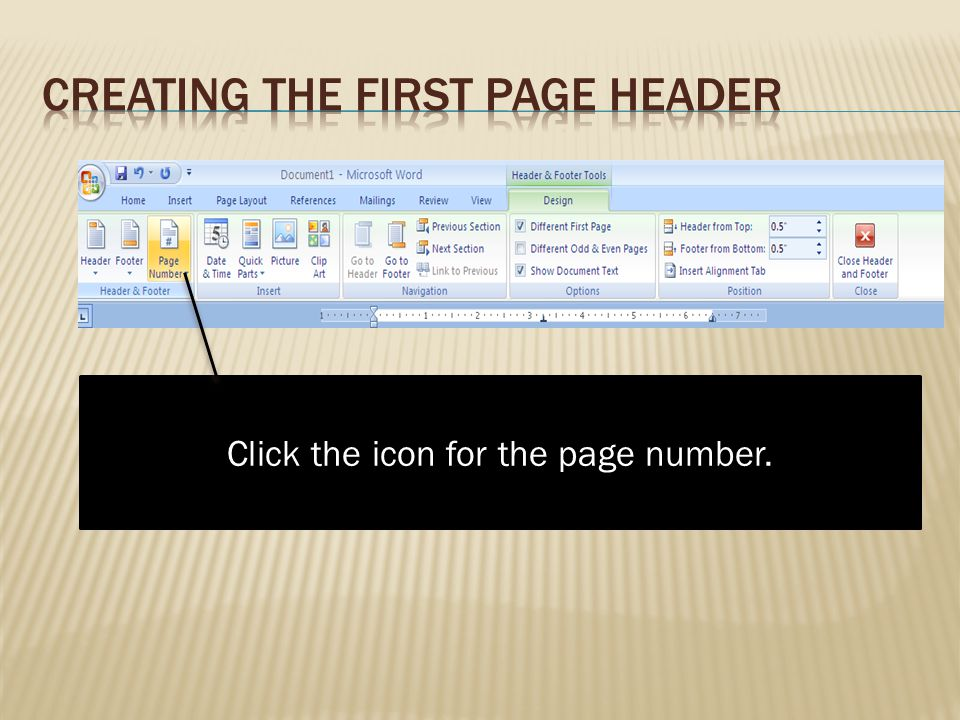 Creating the First Page Header