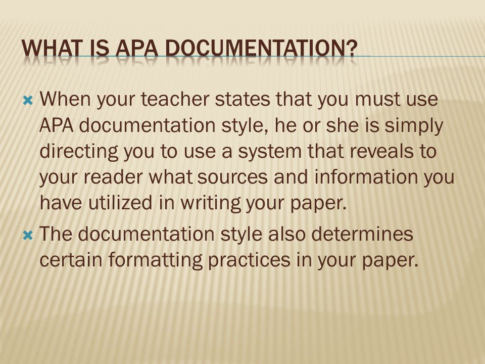 What is APA documentation
