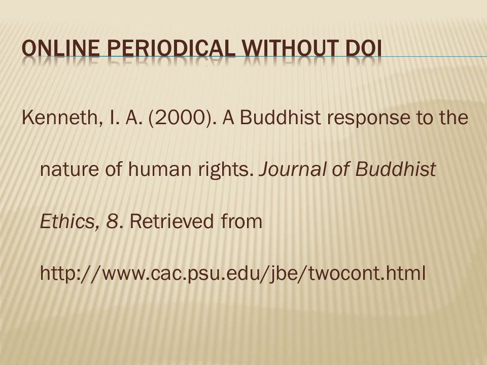 Online Periodical Without DOI