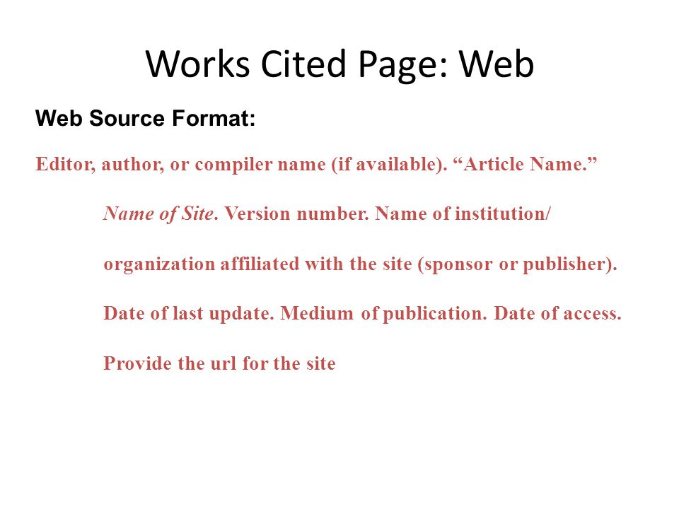 work cited mla format website example