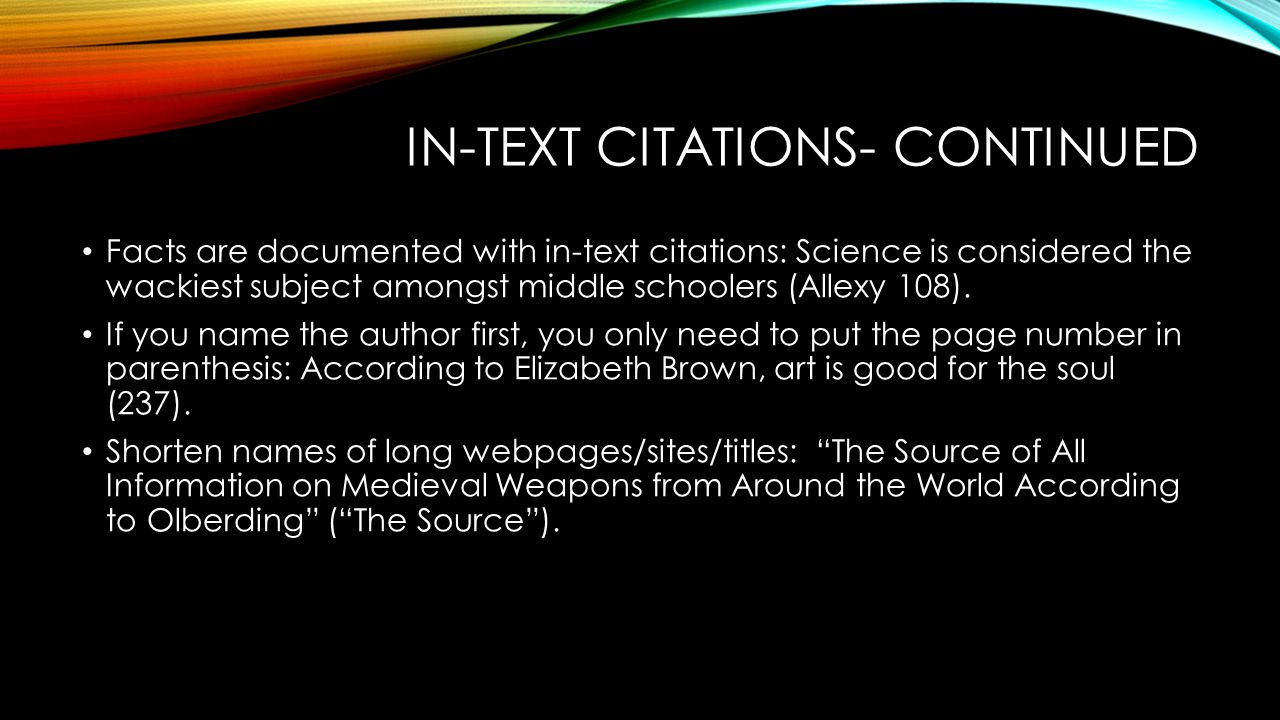 In-text citations- continued