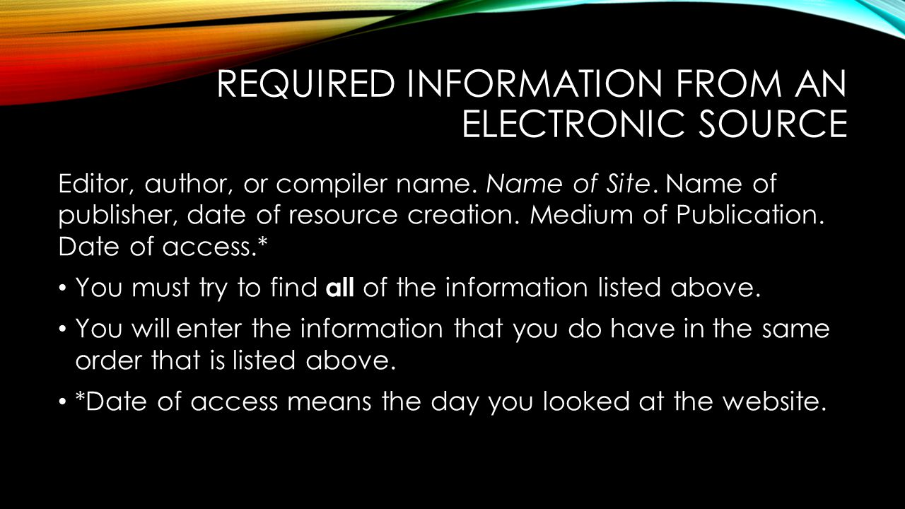 Required information From an Electronic source