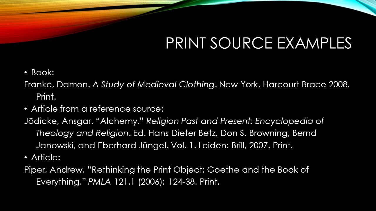 Print Source Examples Book: