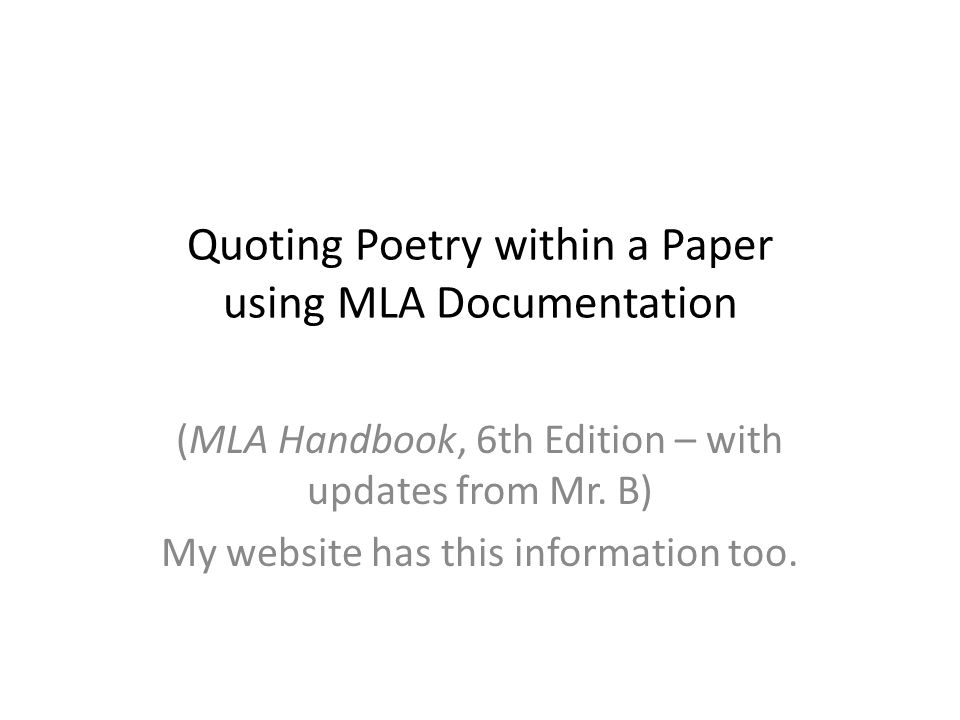 Quoting Poetry within a Paper using MLA Documentation
