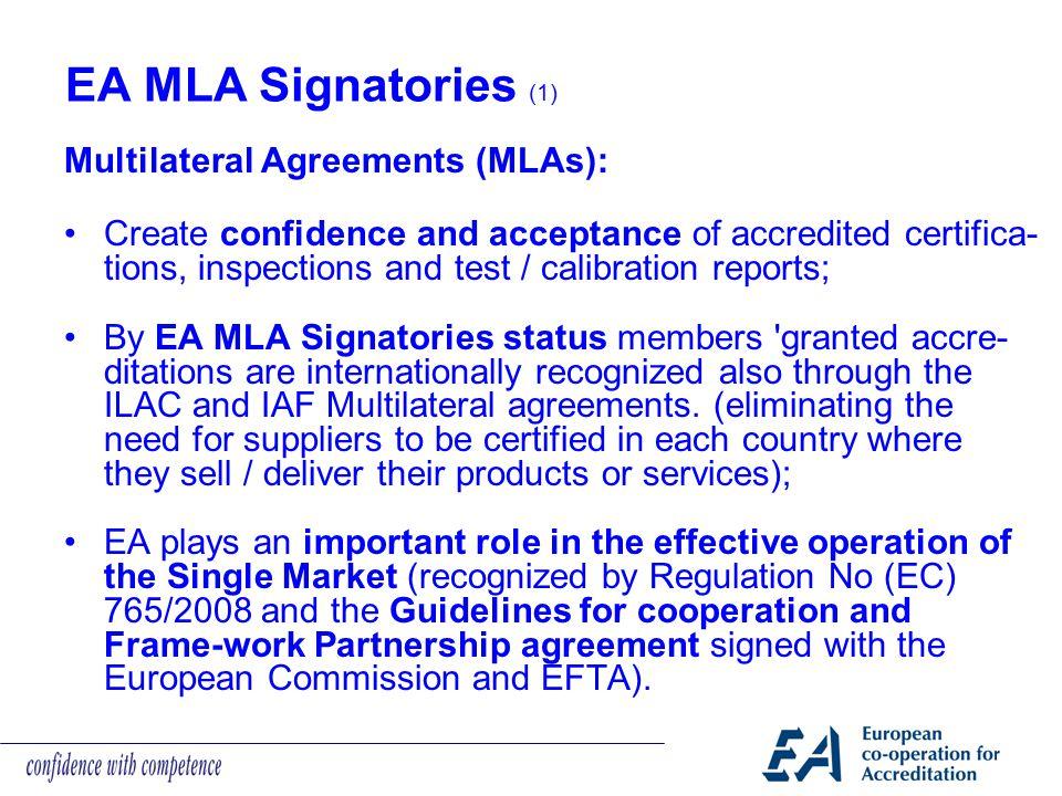 EA MLA Signatories (1) Multilateral Agreements (MLAs):