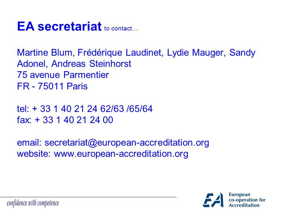 EA secretariat to contact…