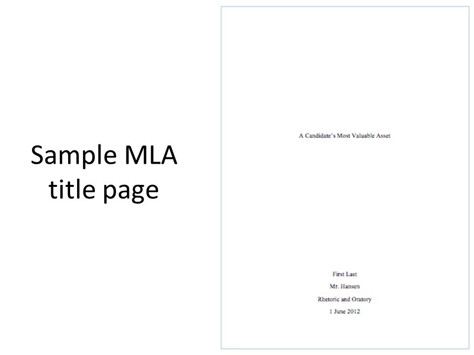 Mla Research Paper Cover Page