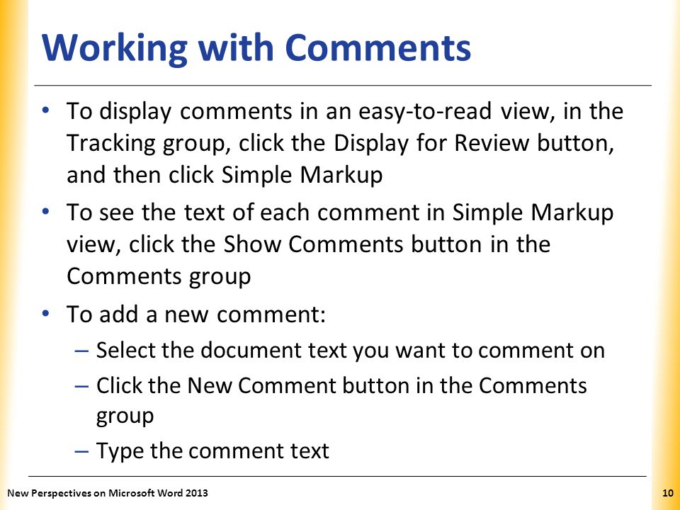 Working with Comments