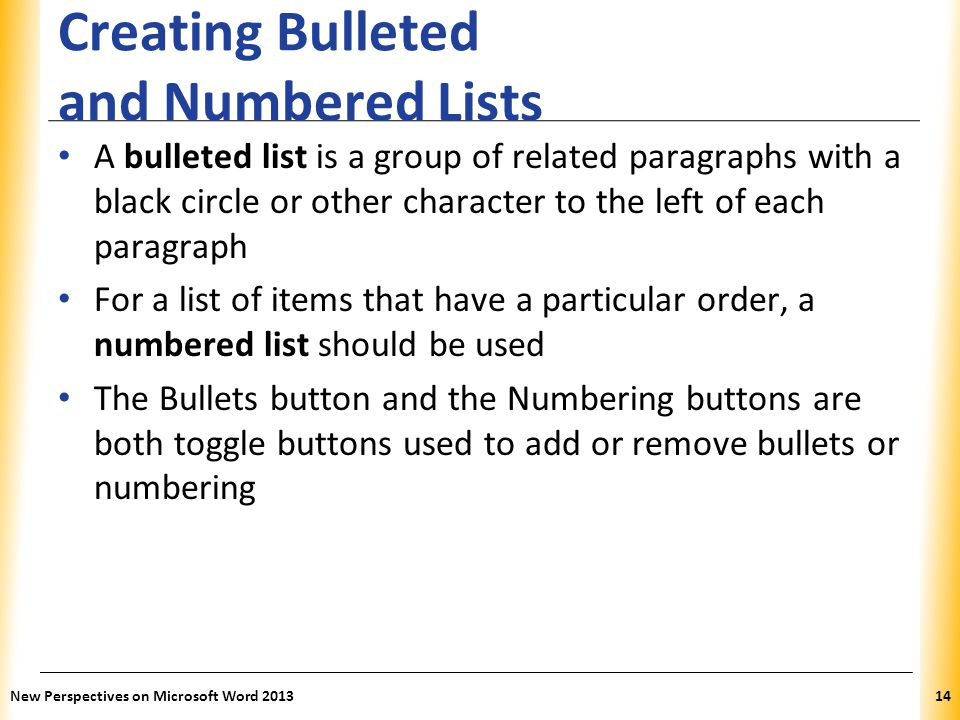 Creating Bulleted and Numbered Lists