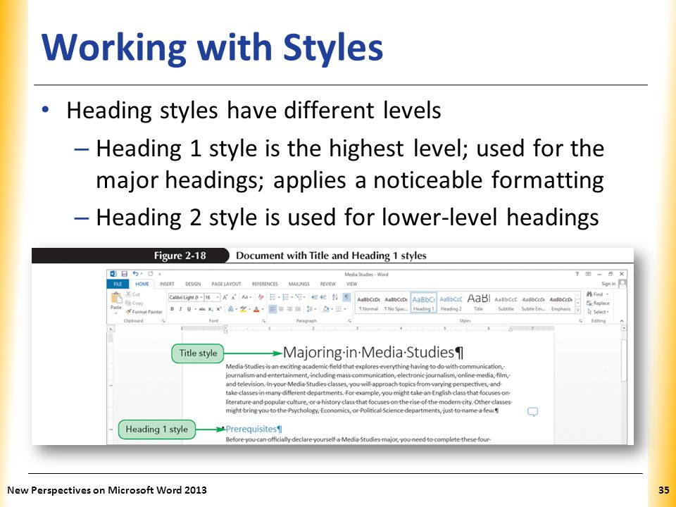 Working with Styles Heading styles have different levels