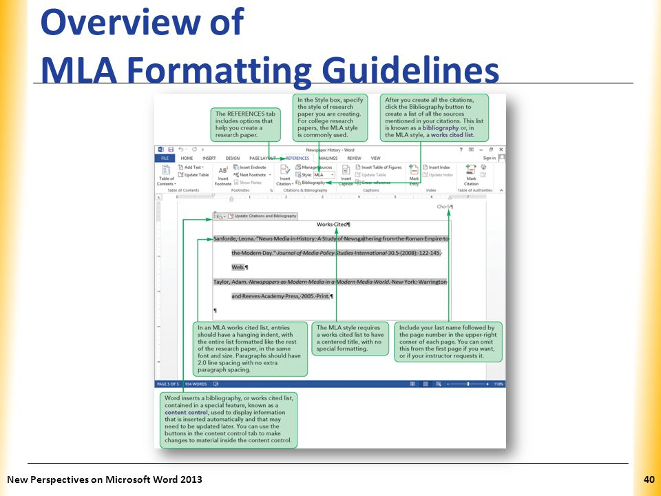 Overview of MLA Formatting Guidelines