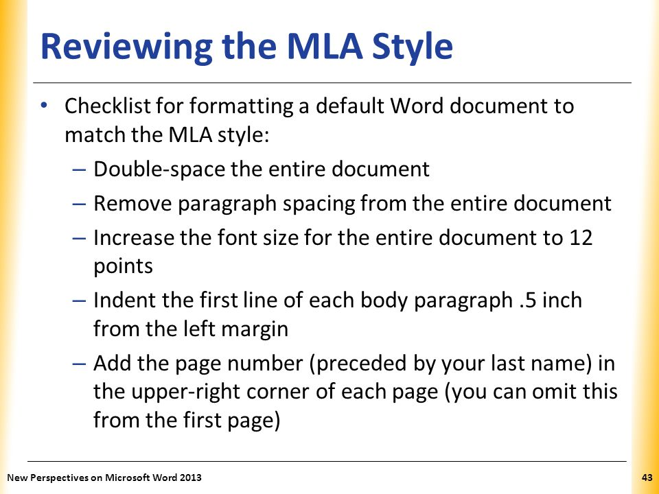 Reviewing the MLA Style