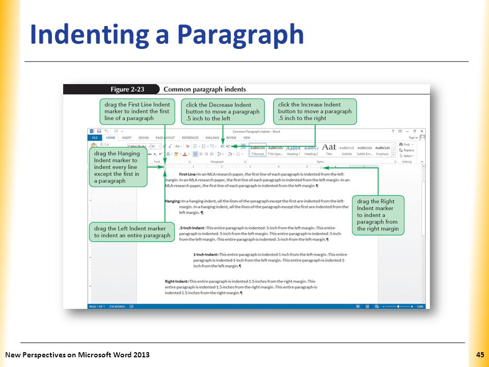 Indenting a Paragraph New Perspectives on Microsoft Word 2013