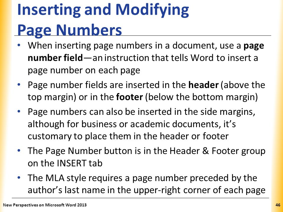 Inserting and Modifying Page Numbers