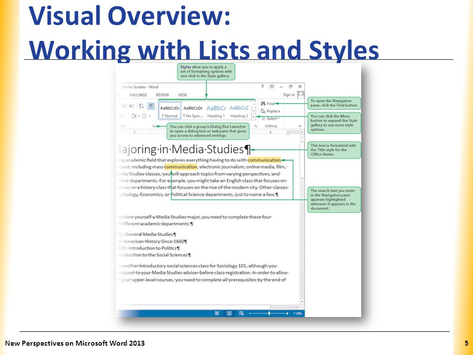 Visual Overview: Working with Lists and Styles