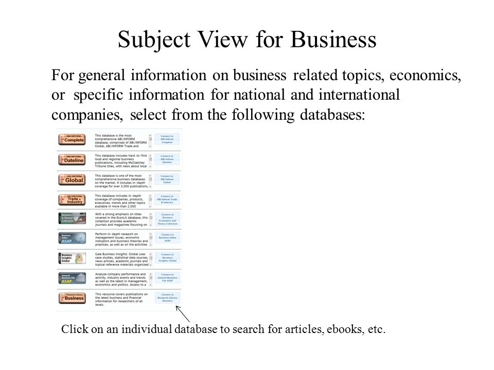 Subject View for Business