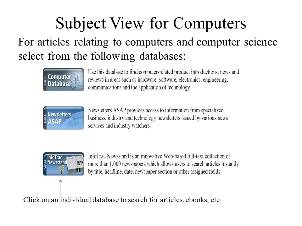 Subject View for Computers