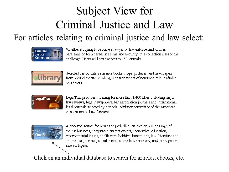 Subject View for Criminal Justice and Law