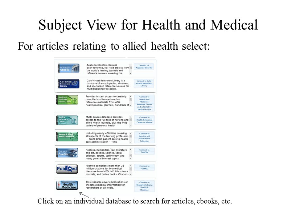 Subject View for Health and Medical