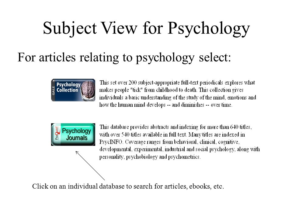 Subject View for Psychology