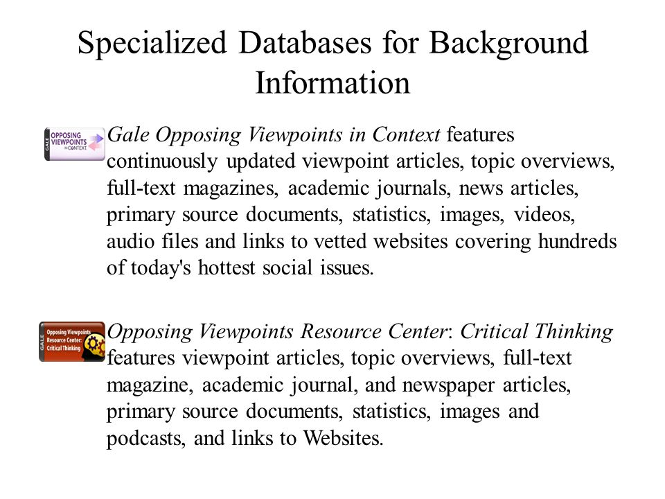 Specialized Databases for Background Information