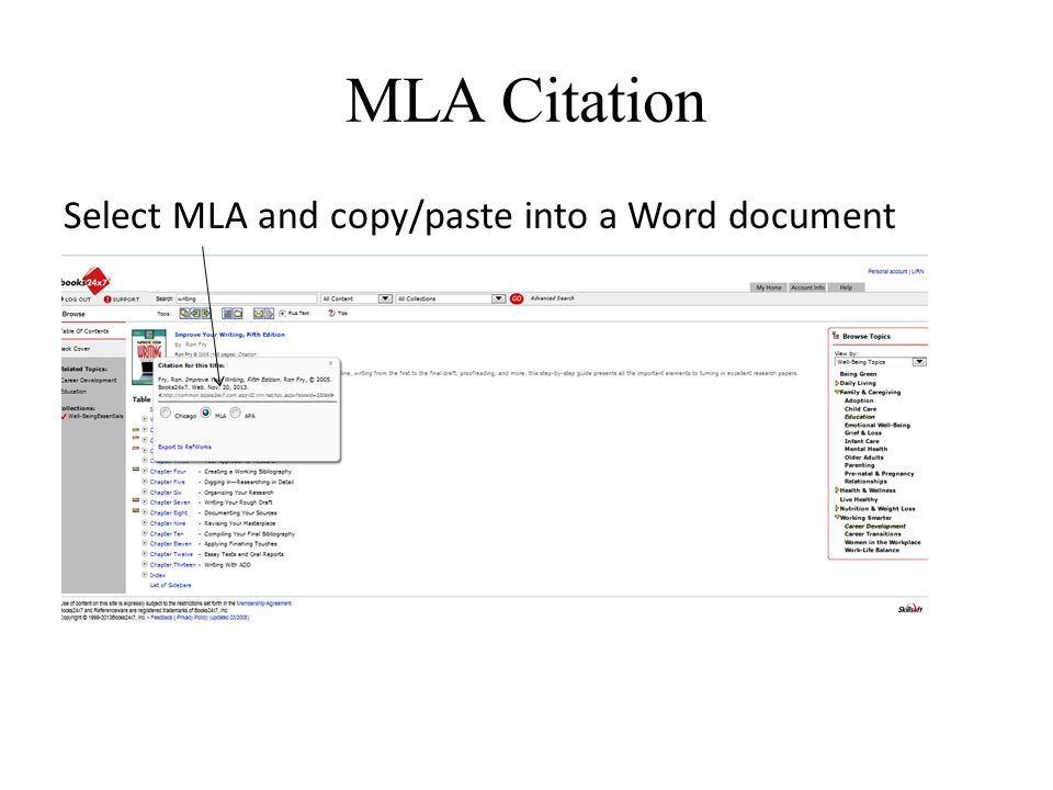 MLA Citation Select MLA and copy/paste into a Word document