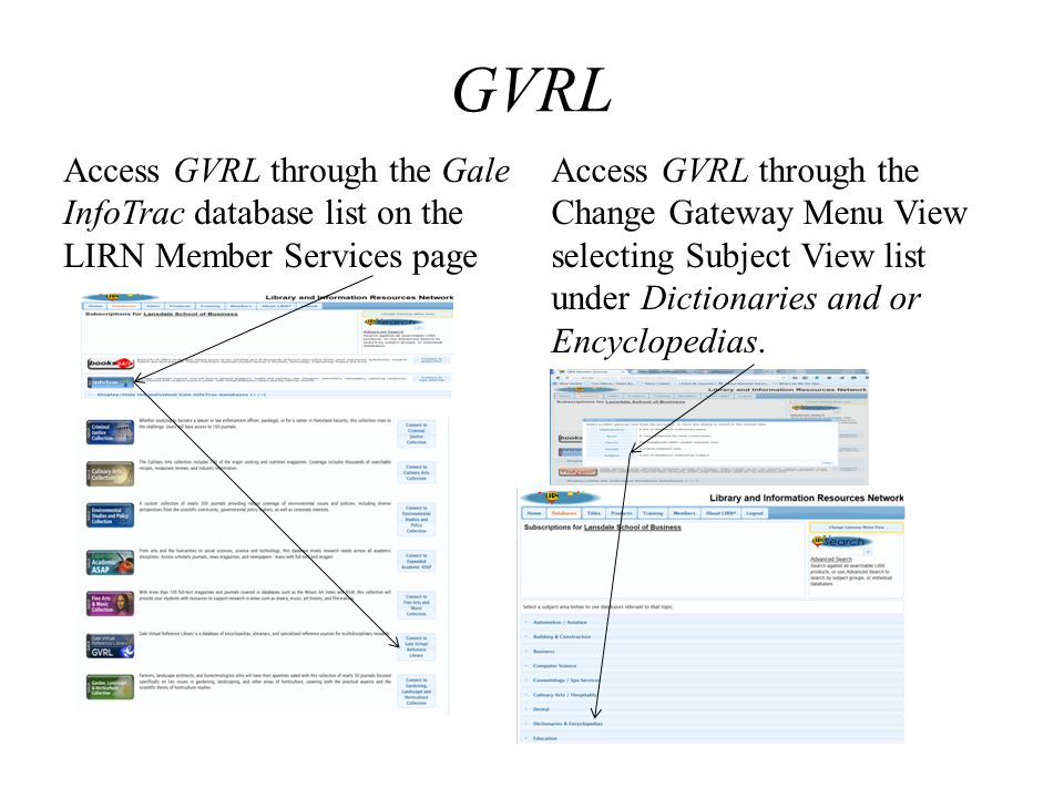 GVRL Access GVRL through the Gale InfoTrac database list on the LIRN Member Services page.