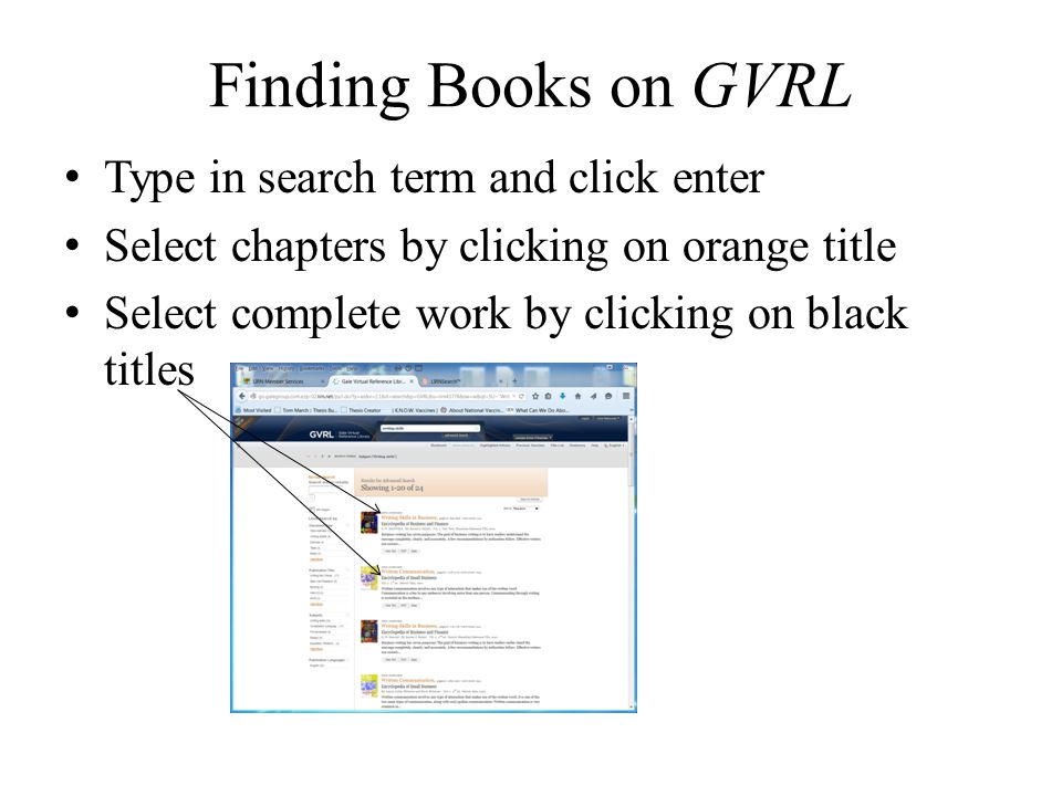 Finding Books on GVRL Type in search term and click enter