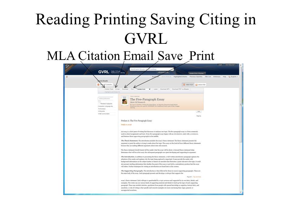 Reading Printing Saving Citing in GVRL