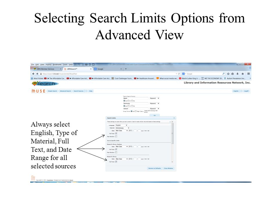 Selecting Search Limits Options from Advanced View